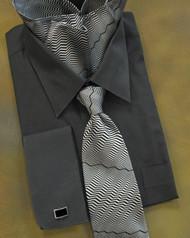 Antonio Ricci 100% Silk Woven Tie - Black Zig-Zags
