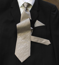 Antonio Ricci 100% Silk Woven Tie - Taupe Border Design
