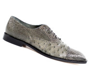 Belvedere 100% Genuine Ostrich Quill & Crocodile Cap-Toe Dress Tie Shoe