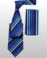 Antonio Ricci 100% Silk Woven Tie - Blue Diagonal Stripes