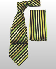 Antonio Ricci 100% Silk Woven Tie - Green Diagonal Stripes