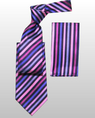 Antonio Ricci 100% Silk Woven Tie - Purple Diagonal Stripes