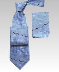 Antonio Ricci 100% Silk Woven Tie - Blue Zig-Zags