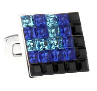 Blue Black Square in Square Swarovski® Crystal Cufflinks (V-CF-C81012)