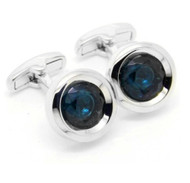 Blue Circle Swarovski® Crystal Cufflinks (V-CF-C52119-BL)