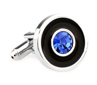Blue Crystal in a Black Circle Cufflinks (V-CF-C5906BL)