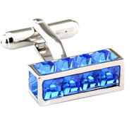 Blue Long Cube with Square Crystals Cufflinks (V-CF-C7708BL)