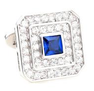 Blue Square Center & Diamond Swarovski® Crystal Cufflinks (V-CF-C1310BL-S)
