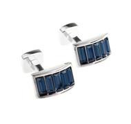 Blue Swarovski® Crystal Arch Cufflinks (V-CF-C900BL)