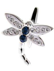 Blue Swarovski® Crystal Dragonfly Cufflinks (V-CF-C406BL)
