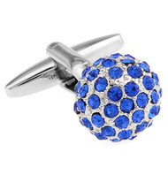 Blue Swarovski® Crystal Encrusted Small Ball Cufflinks (V-CF-C624BL)
