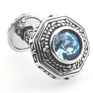 Celtic Style Aqua Blue Crystal Cufflinks (V-CF-C53381BL)