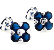 Double-sided Blue Swarovski® Crystal Floral Shape Cufflinks (V-CF-C1004BL)
