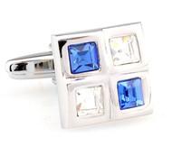 Four Square Blue & Diamond Crystals Cufflinks (V-CF-C61385BLW-S)