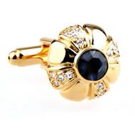Gold Floral Blue Swarovski® Crystal Cufflinks (V-CF-C52702BL-G)