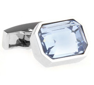 Light Blue Emerald Cut Swarovski® Crystal Cufflinks (V-CF-C51520BL)