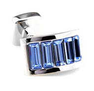Light Blue Swarovski® Crystal Arch Cufflinks (V-CF-C900LBL)