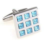 Aqua Blue Swarovski® Crystals in Square Cufflinks (V-CF-C55755BL-S)