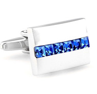 Lined Blue Crystals Cufflinks (V-CF-C60131BL-S)