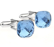 Petite Light Blue Crystal Cufflinks (V-CF-C61079-LB)