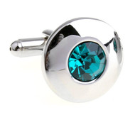 Round Center Teal Crystal Circle Cufflinks (V-CF-C56722-TB)