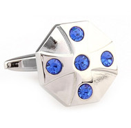 Royal Blue Crystal Circle Cufflinks (V-CF-C65449BL)