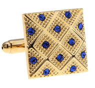 Royal Blue Crystals in a Gold Square Design Cufflinks (V-CF58272BL-G)