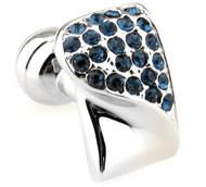 Sapphire-Colored Swarovski® Crystal & Silver Cufflinks (V-CF-C603BL-S)