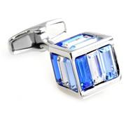 Small Blue Cubed Baguette Swarovski® Crystal Cufflinks (V-CF-C1000BL-S)