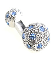 Small Silver with Blue Swarovski® Crystals Dual Ball Cufflinks (V-CF-C509BL-S)