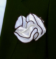 Antonio Ricci Double Color Pouf Pocket Square - Brown & Ivory on White