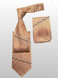Antonio Ricci 100% Silk Woven Tie - Melon Zig-Zags