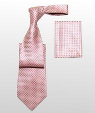 Antonio Ricci 100% Silk Woven Tie - Pink Basketweave Design