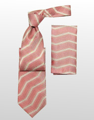 Antonio Ricci 100% Silk Woven Tie - Light Red Linear Design