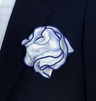 Antonio Ricci Double Color Pouf Pocket Square - Royal & Light Blue on White