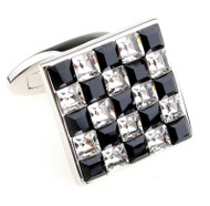 Black & Diamond Square in Square Swarovski® Crystal Cufflinks (V-CF-C5530C-S)