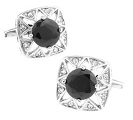 Black Round Center Swarovski® Crystal Starburst Cufflinks (V-CF-C519-B)