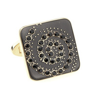 Black Spiral Swarovski® Crystal Design Gold Cufflinks (V-CF-C710BB-G)