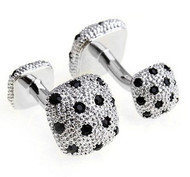 Double-Sided Knob Black Swarovski® Crystal Cufflinks (V-CF-V00001B)
