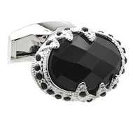 Faceted Black Onyx with Crystals Dome Cufflinks (V-CF-G53091)