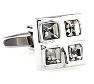 Four Square Smoke Crystals Cufflinks (V-CF-C61385SM-S)