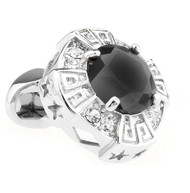 Oversized Black Faceted Crystal Cufflinks (V-CF-C64110B)