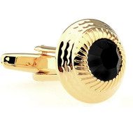 Round Center Black Crystal in Gold Cufflinks (V-CF-60058B-G)