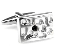 Silver Cut-Out Black Crystal Cufflinks (V-CF-C40253B-S)