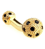 Small Gold with Black Swarovski® Crystals Dual Ball Cufflinks (V-CF-C509B-G)