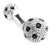 Small Silver with Black Swarovski® Crystals Dual Ball Cufflinks (V-CF-C509B-S)