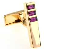 Gold Linear Design with Purple Swarovski® Crystal Cufflinks (V-CF-C504PR-G)