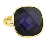 Large Faceted Dark Purple Swarovski® Gold Cufflinks (V-CF-C7872PR-G)