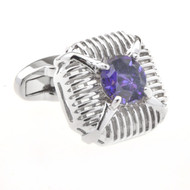 Large Purple Crystal Cufflinks (V-CF-C53495-PR)