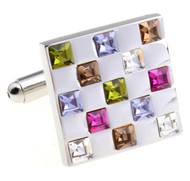 Multi-Colored Square Swarovski® Crystal Cufflinks (V-CF-C56299)